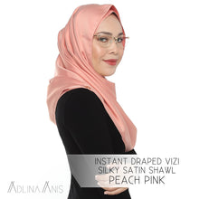Load image into Gallery viewer, Instant Draped VIZI Silky Satin Shawl - Peach Pink - vizi - Adlina Anis - Third Culture Boutique