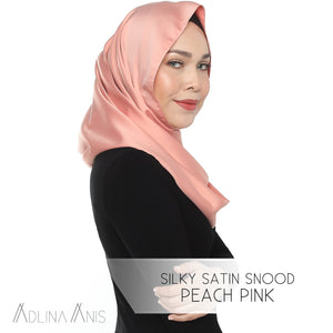 Silky Satin Snood Grande - Peach Pink - Third Culture Boutique