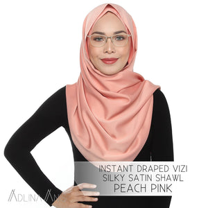 Instant Draped VIZI Silky Satin Shawl - Peach Pink - Third Culture Boutique