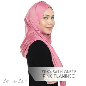 Silky Satin Onesie - Pink Flamingo - Instant Hijabs - Adlina Anis - Third Culture Boutique
