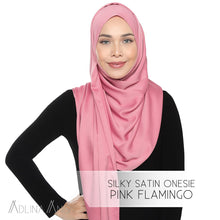 Load image into Gallery viewer, Silky Satin Onesie - Pink Flamingo - Instant Hijabs - Adlina Anis - Third Culture Boutique