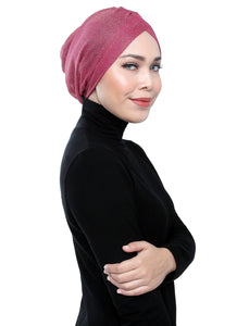 Gold Knit Turban - ROSE PINK