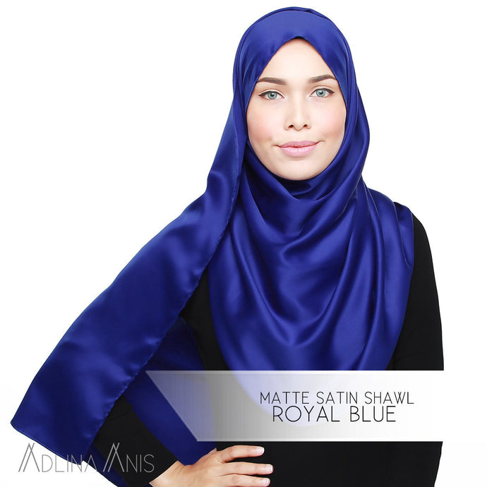 Matte Satin Shawl - Royal Blue - Satin - Adlina Anis - Third Culture Boutique