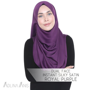 Dual Face Instant Silky Satin Shawl - Royal Purple - Third Culture Boutique