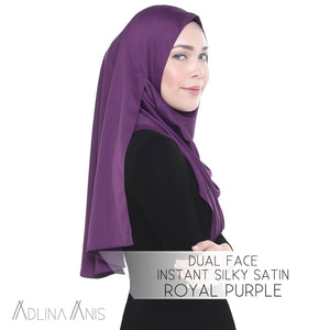 Dual Face Instant Silky Satin Shawl - Royal Purple - Instant Hijabs - Adlina Anis - Third Culture Boutique