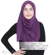 Load image into Gallery viewer, Dual Face Instant Silky Satin Shawl - Royal Purple - Instant Hijabs - Adlina Anis - Third Culture Boutique