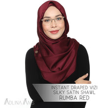 Load image into Gallery viewer, Instant Draped VIZI Silky Satin Shawl - Rumba Red - vizi - Adlina Anis - Third Culture Boutique