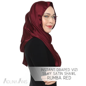 Instant Draped VIZI Silky Satin Shawl - Rumba Red - Third Culture Boutique