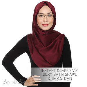 Instant Draped VIZI Silky Satin Shawl - Rumba Red - vizi - Adlina Anis - Third Culture Boutique