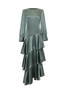 Seville Layered Satin Gown - Pale Jade