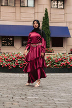 Load image into Gallery viewer, Seville Layered Satin Gown - Scarlet Ruby