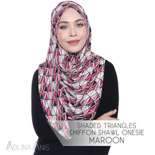 Load image into Gallery viewer, Shaded Triangles Chiffon Shawl Onesie - Maroon - Instant Hijabs - Adlina Anis - Third Culture Boutique