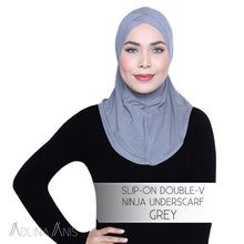 Load image into Gallery viewer, Slip-On Double-V Ninja Underscarf - Grey - underscarves - Adlina Anis - Third Culture Boutique