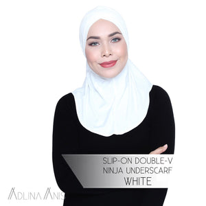 Slip-On Double-V Ninja Underscarf - White - Third Culture Boutique