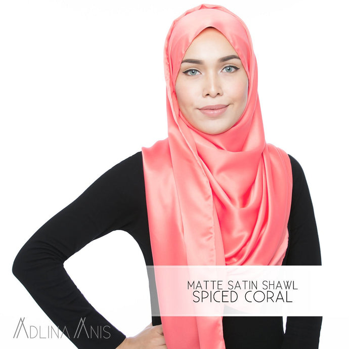 Matte Satin Shawl - Spiced Coral - Satin - Adlina Anis - Third Culture Boutique