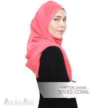 Load image into Gallery viewer, Chiffon Shawl - Spiced Coral - Premium Chiffon - Adlina Anis - Third Culture Boutique