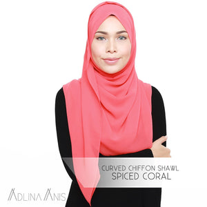 Curved Chiffon Shawl - Spiced Coral - Premium Chiffon - Adlina Anis - Third Culture Boutique