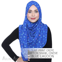 Load image into Gallery viewer, Surf Print Crepe Chiffon Shawl Onesie - Blue Lagoon - Instant Hijabs - Adlina Anis - Third Culture Boutique