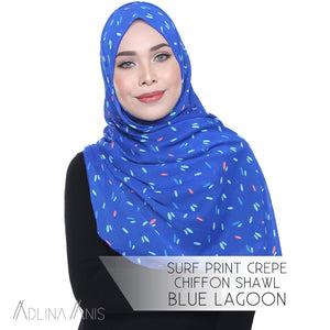 Surf Print Crepe Chiffon Shawl Onesie - Blue Lagoon - Instant Hijabs - Adlina Anis - Third Culture Boutique