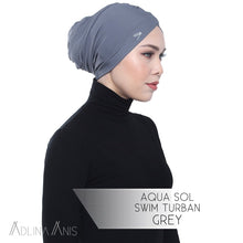 Load image into Gallery viewer, Aqua Sol Swim Turban - Grey - Swimming caps - Adlina Anis - Third Culture Boutique