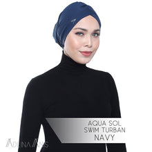 Load image into Gallery viewer, Aqua Sol Swim Turban - Navy - Swimming caps - Adlina Anis - Third Culture Boutique