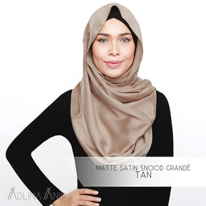 Matte Satin Snood Grande - Tan - Third Culture Boutique