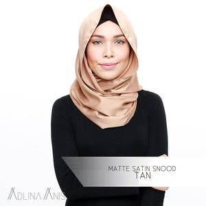 Matte Satin Snood - Tan - Third Culture Boutique