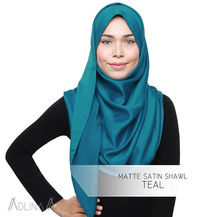 Matte Satin Shawl - Teal - Satin - Adlina Anis - Third Culture Boutique