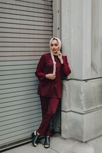 The Oxford Dress Set - Red Maple - Suit Sets - Niswa Fashion - Third Culture Boutique