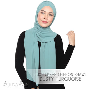 Lux Turban Chiffon Shawl - Dusty Turquoise - Lux Turban - Adlina Anis - Third Culture Boutique