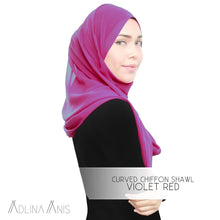Load image into Gallery viewer, Curved Chiffon Shawl - Violet Red - Premium Chiffon - Adlina Anis - Third Culture Boutique
