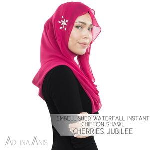Embellished Waterfall Instant Chiffon Shawl - Cherries Jubilee - Instant Hijabs - Adlina Anis - Third Culture Boutique
