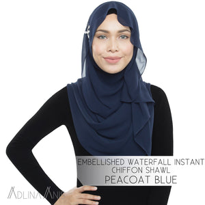 Embellished Waterfall Instant Chiffon Shawl - Peacoat Blue - Third Culture Boutique
