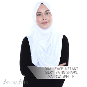 Dual Face Instant Silky Satin Shawl - Snow White - Third Culture Boutique