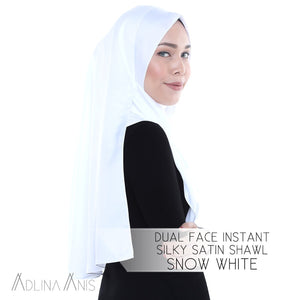 Dual Face Instant Silky Satin Shawl - Snow White - Instant Hijabs - Adlina Anis - Third Culture Boutique