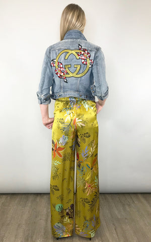 Satin pants add glam to your favorite denim jacket