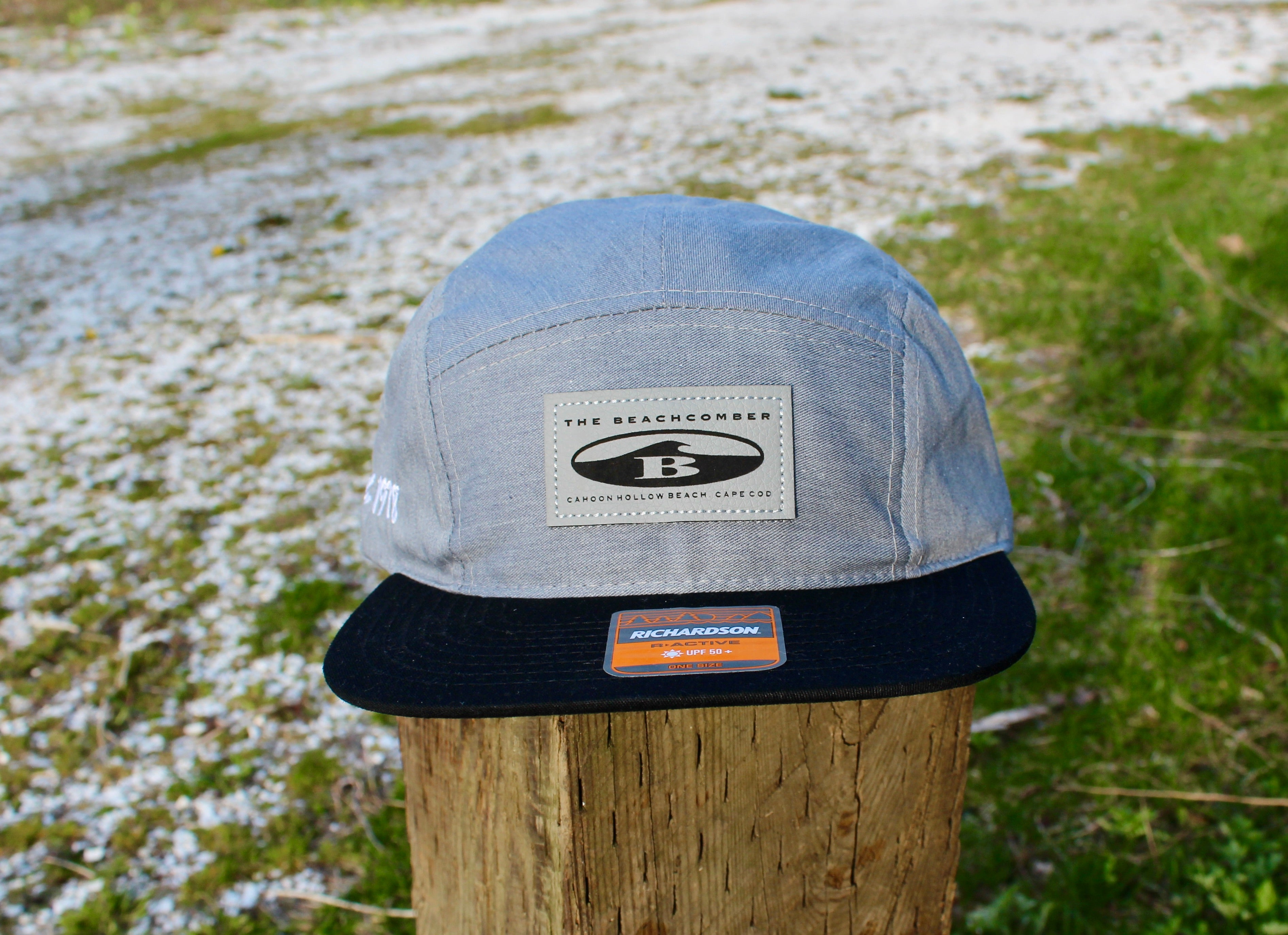 5-Panel Oval B Leather Patch Hat