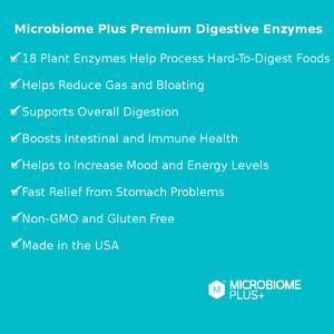 Microbiome Plus+ Premium Digestive Enzymes (18 Enzymes)