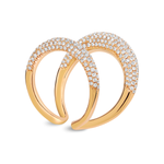 Gold Loop Knuckle Ring with Diamonds
