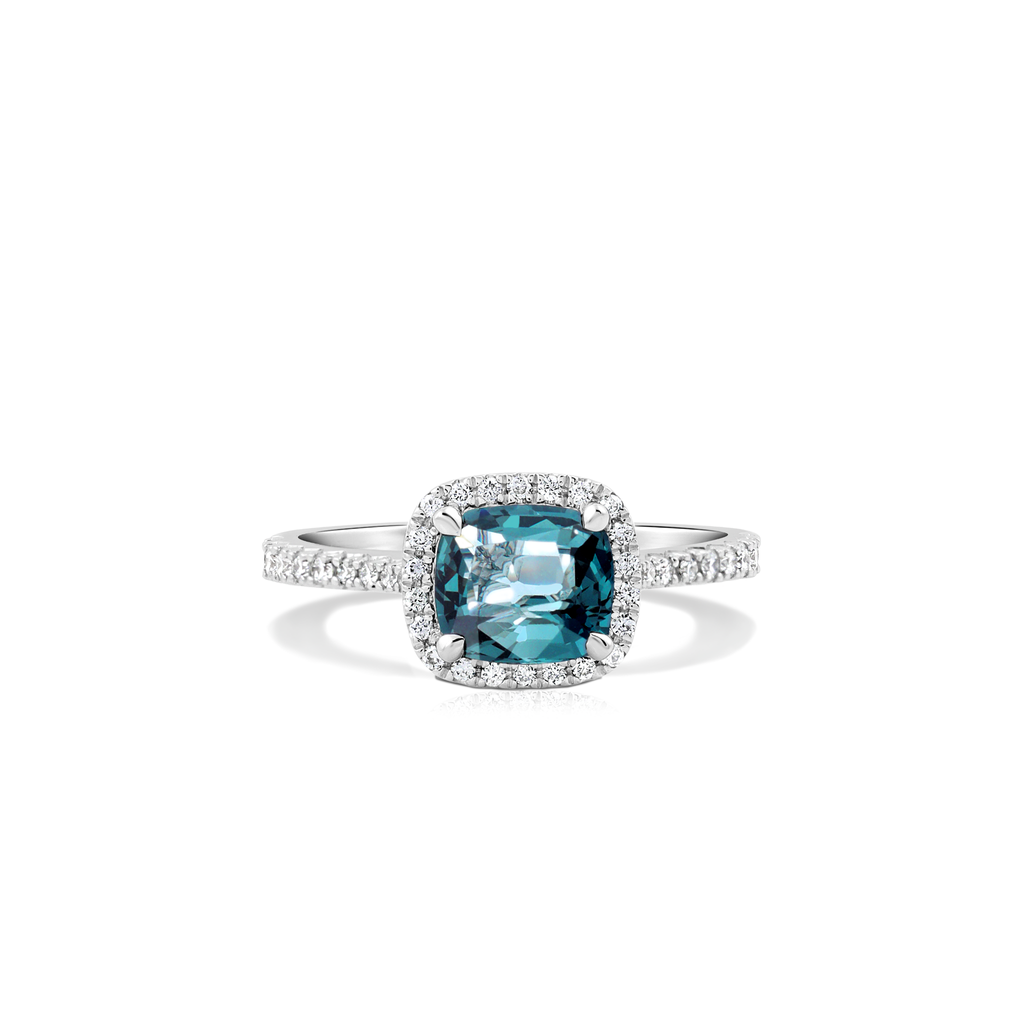 One-Of-A-Kind Teal Spinel and Diamond Halo Cushion Ring