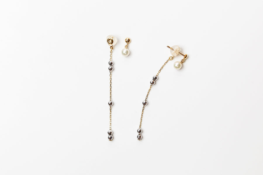 Orabella Akoya Pearl and 18 Karat Gold Earring 18k,w,4-4.5mm
