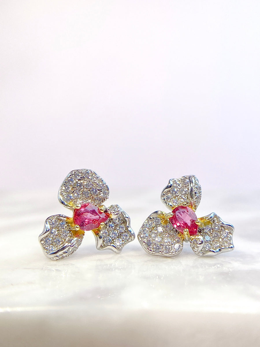 Iris Gold Plated Silver Precious Gemstone Earring