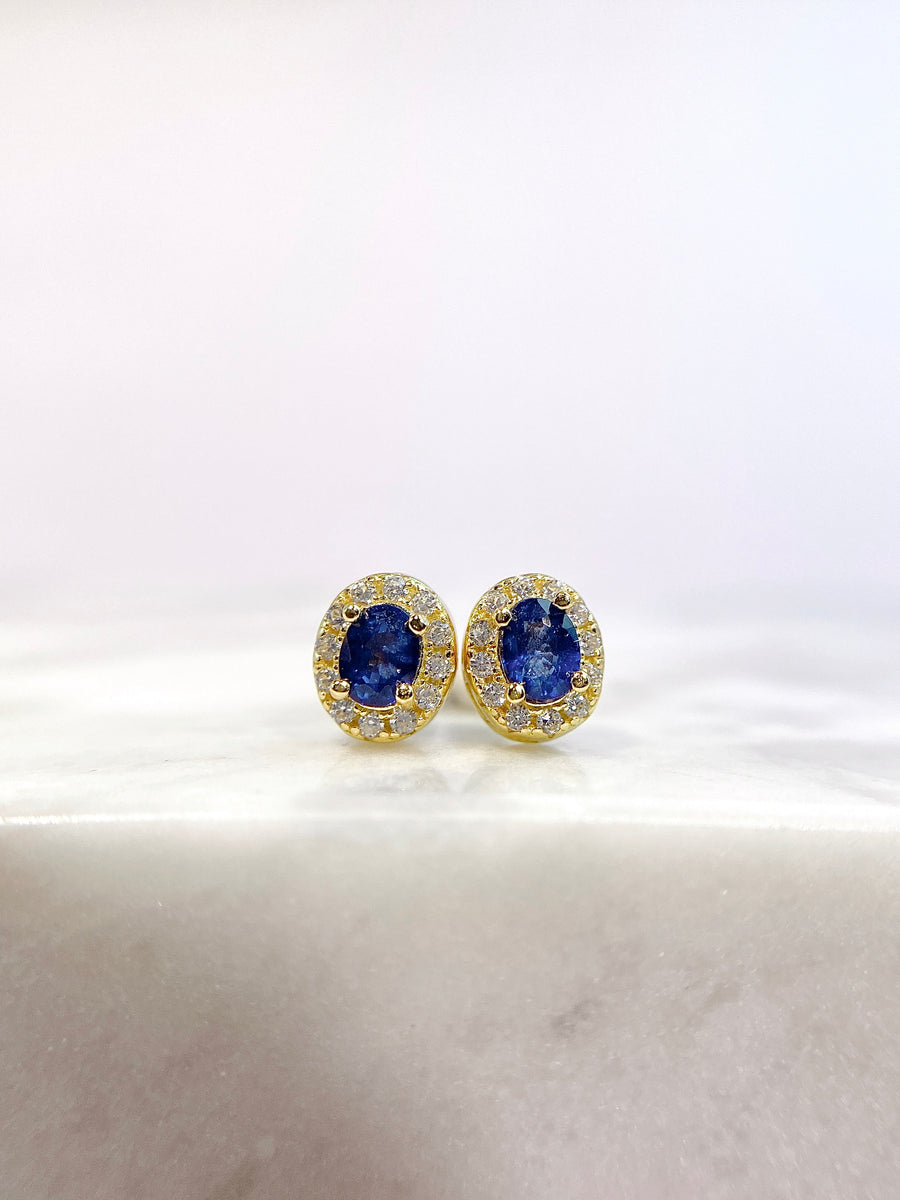 Adeline Gold Plated Silver Precious Gemstone Earring