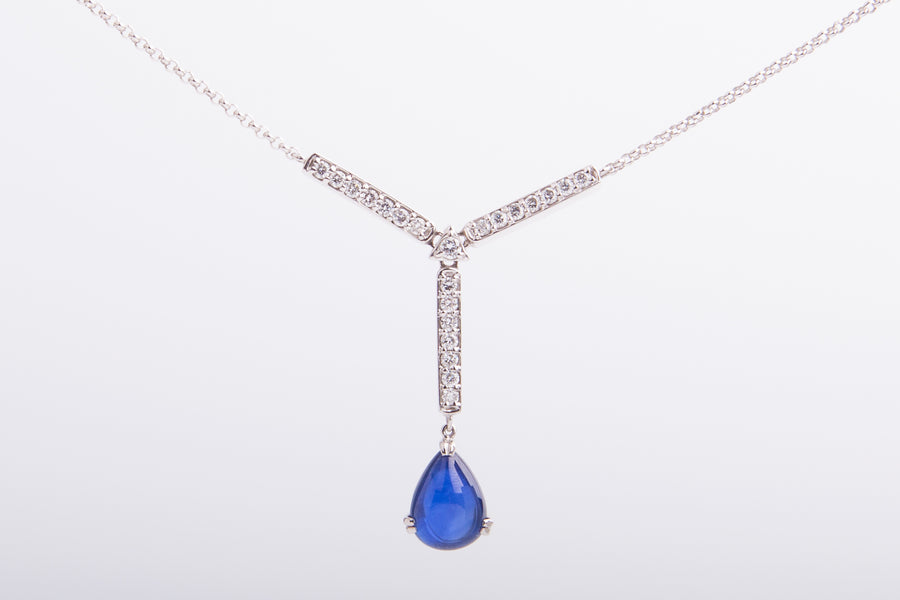 Pt900 Royal Blue Sapphhre Teardrop Diamond Necklace