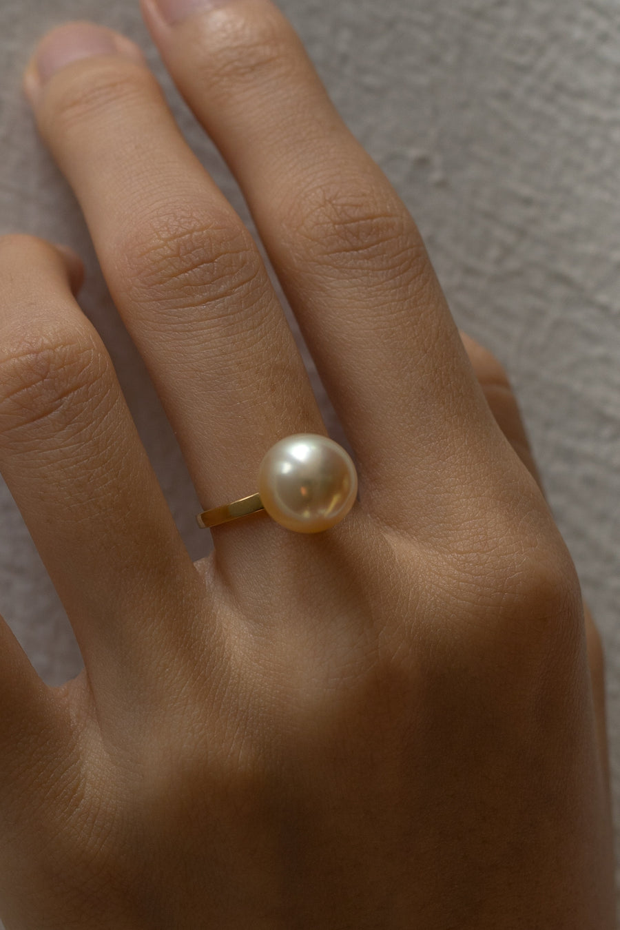 18 Karat Gold Champagne Golden South Sea Pearl Stud and Ring Set