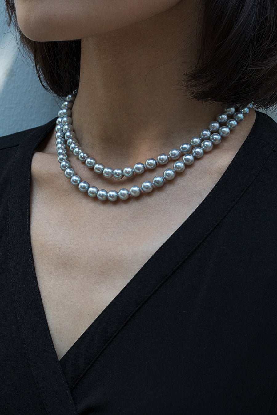 Akoya Silver Blue Necklace