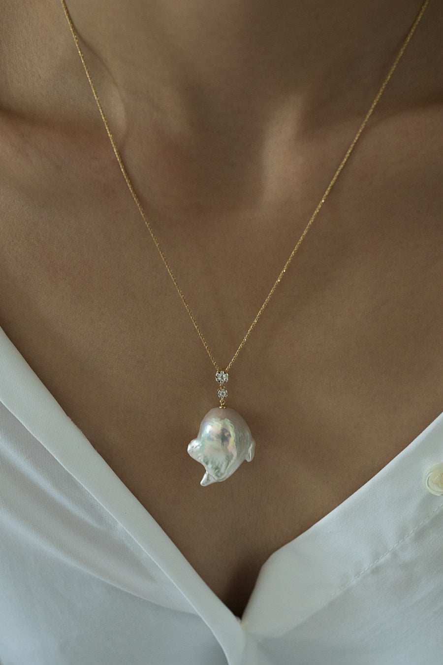 18K Gold Baroque Pearl Necklace