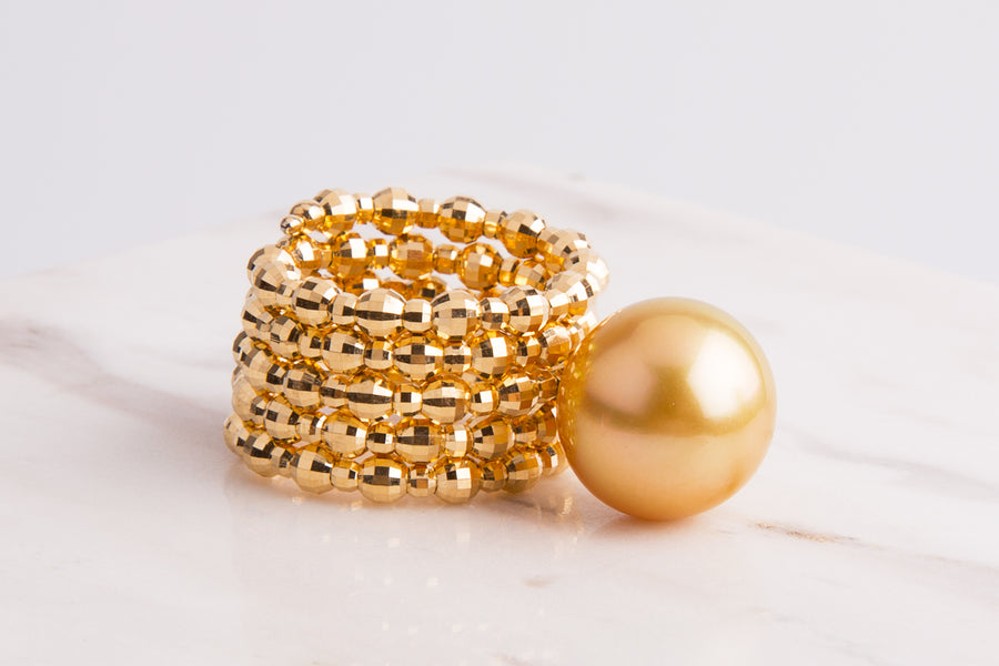 18 Karat Gold Golden South Sea Pearl Adjustable Ring