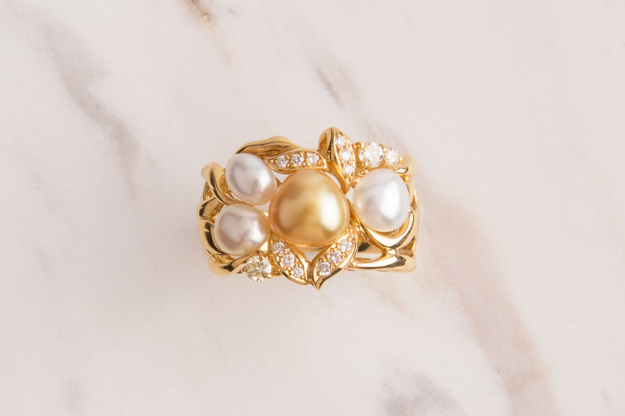 18 Karat Gold Keshi White and Golden South Sea Pearl Diamond Ring