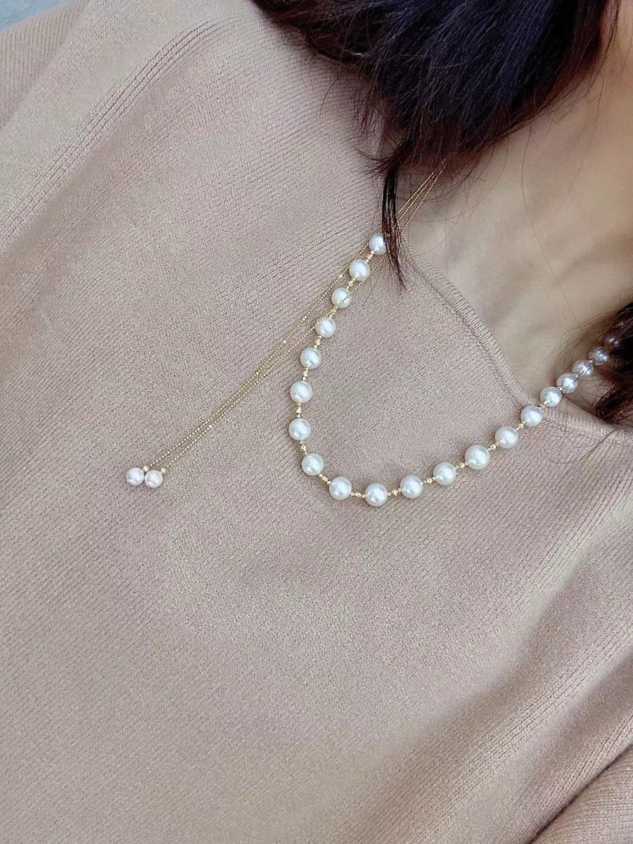 White South Sea Pearl and Akoya Pearl Necklace in 18K Yellow Gold 8-11mm,ak6-6.5